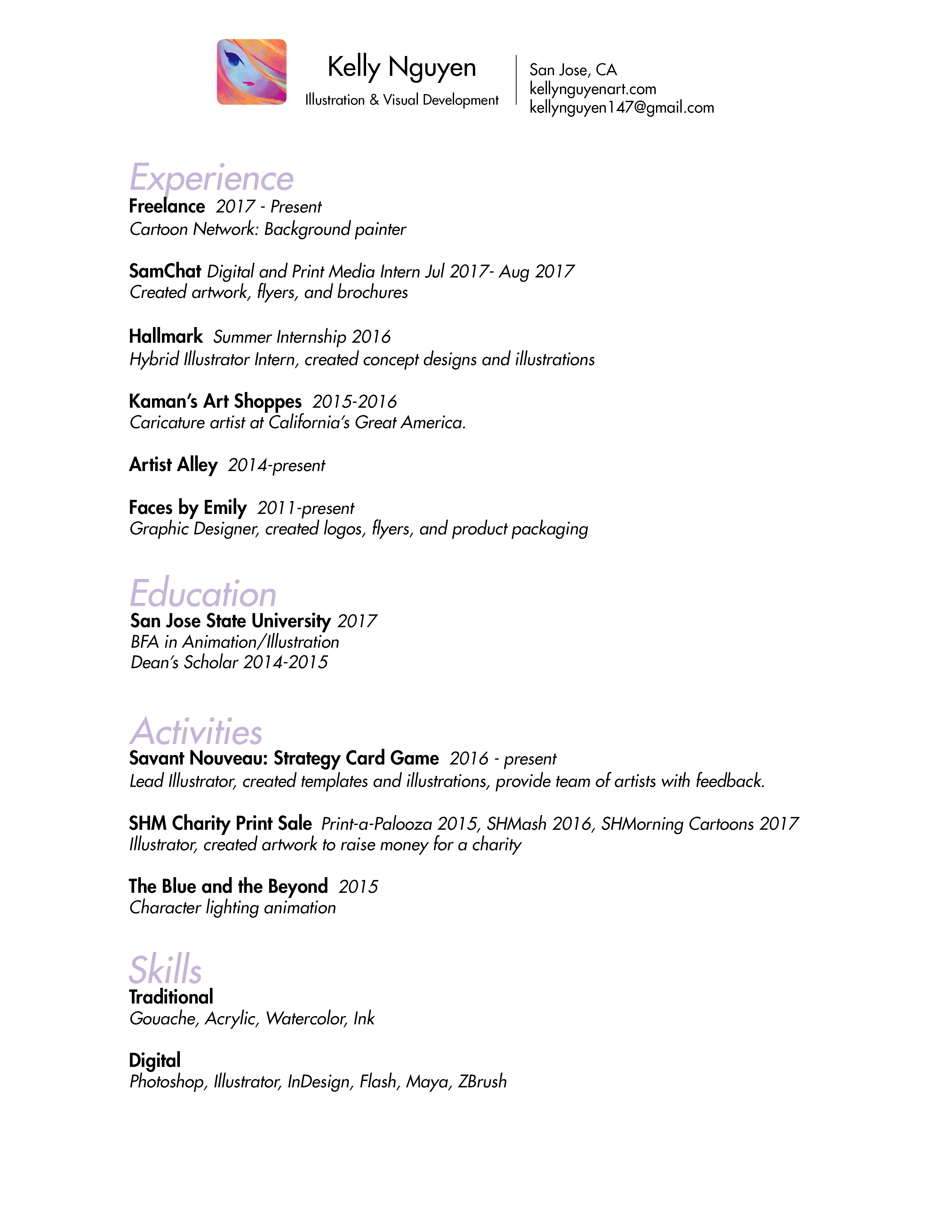resume for artists